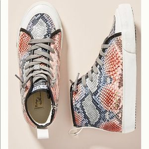 Anthropologie Size 7 Snake High-Top Sneakers